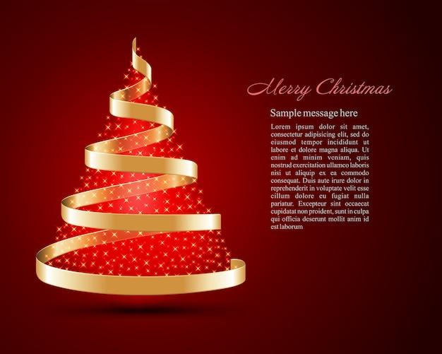 Arbre De Noël De Ruban Doré Avec Lumières Magiques Lueur Brillante Et Illustration. Vecteur Premium