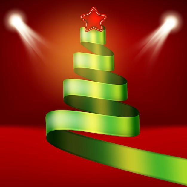 Arbre De Noël De Ruban Vert Et étoile. Vecteur Premium