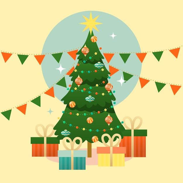 Arbre De Noël Vintage Avec Des Cadeaux Vecteur gratuit