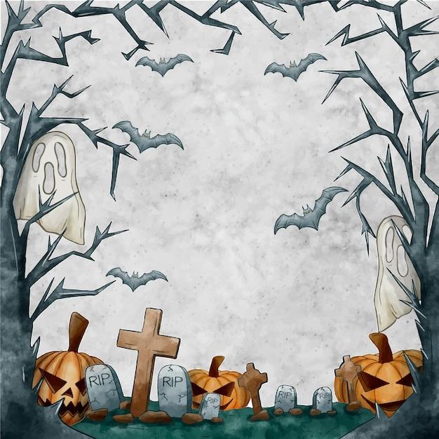 Arbre Sec Branches Halloween Cadre Copie Espace Vecteur gratuit