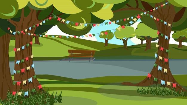 Arbre vert décoré, drapeau de bruant de guirlande dans le parc Vecteur Premium