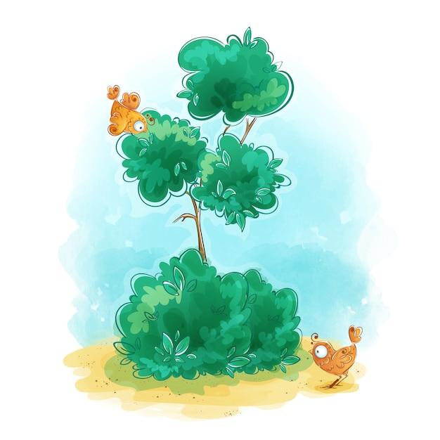 Arbre vert mince avec deux oiseaux orange stylisés mignons. Vecteur Premium