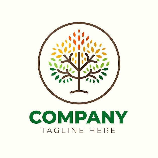 Arbre De Vie Dans Un Modèle De Symbole De Logo De Cercle Vecteur gratuit