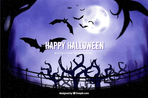 Arbres et chauves-souris fond d'halloween Vecteur gratuit