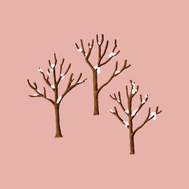 Arbres couverts de neige dans l'illustration d'hiver Vecteur gratuit