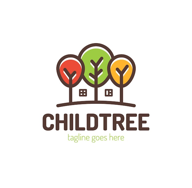 Arbres Avec Création De Logo à La Maison. Vecteur Premium