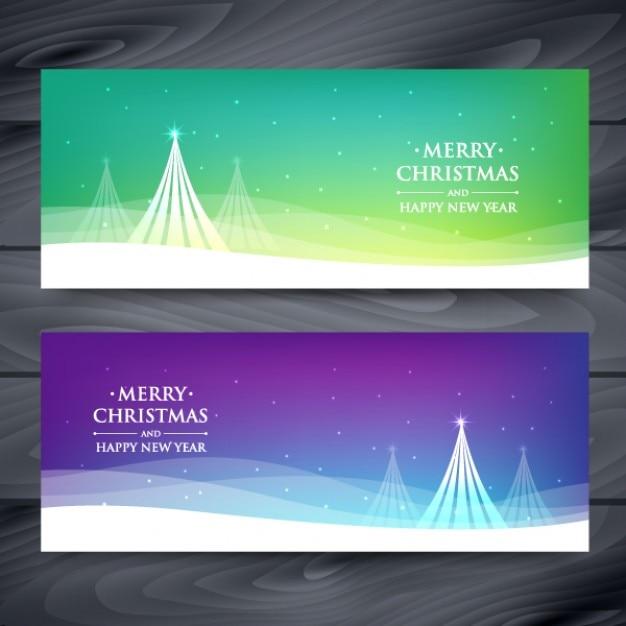 Arbres de Noël avec des vagues Banners Set Vecteur gratuit