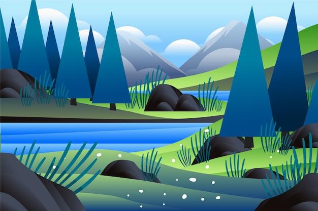 Arbres Forestiers Et Paysage Printanier De La Rivière Vecteur gratuit