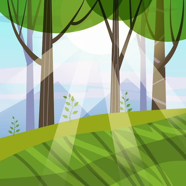 Arbres de forêt de printemps magnifique, feuillage vert, paysage, arbustes, silhouettes de troncs, horizon Vecteur Premium