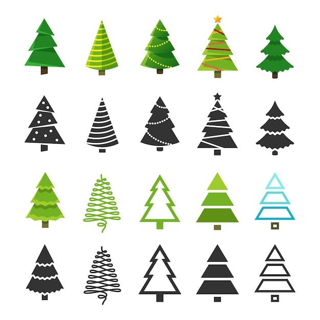 Arbres D'hiver De Noël Plats Avec Décoration De Noël Festive Et Collection De Silhouettes De Sapin Noir Vecteur Premium
