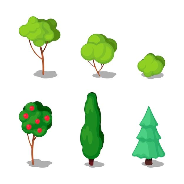 Arbres isométriques. ensemble de plantes. Vecteur Premium