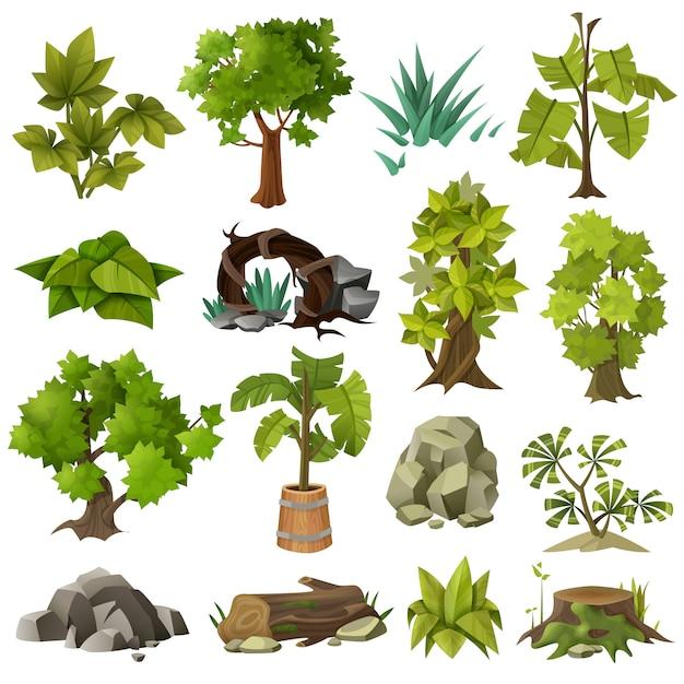 Arbres plantes collection d'éléments de jardinage paysager Vecteur gratuit