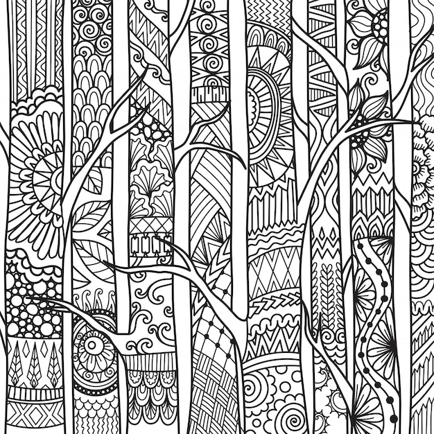 Arbres De Style Zentangle, Coloriage Vecteur Premium