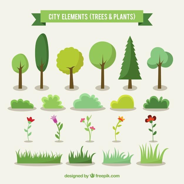 Arbres De La Ville Et De Plantes Vecteur gratuit