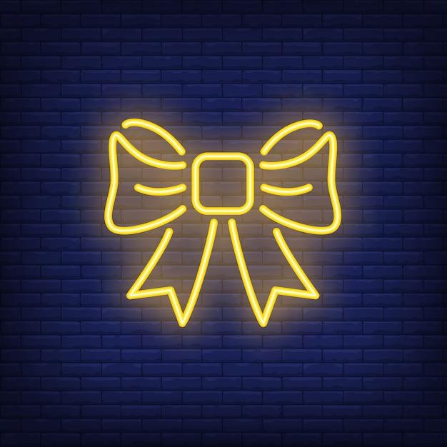 Arc de cadeau jaune néon. élément de signe lumineux de nuit. illustration pour les vacances, boîte actuelle Vecteur gratuit