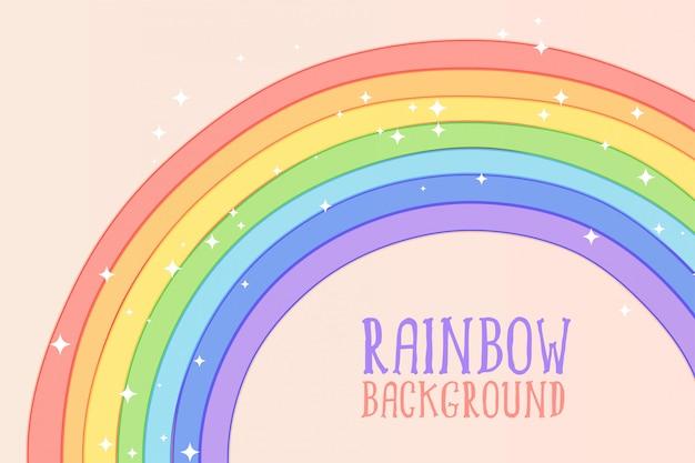 Arc en ciel dessiné main mignon en arrière-plan de couleurs pastel Vecteur gratuit