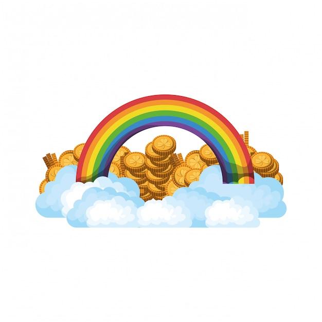Arc en ciel avec icône isolé de pièces Vecteur Premium