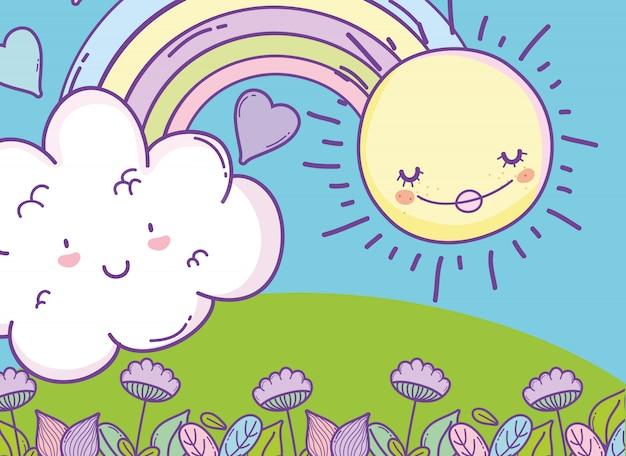 Arc En Ciel Avec Nuage Kawaii Et Soleil Heureux
