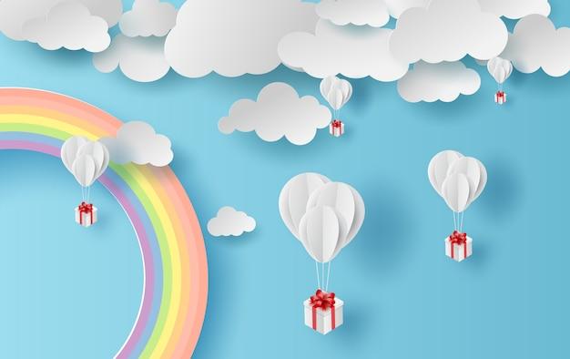 Arc en ciel de paysage de saison d'été Vecteur Premium