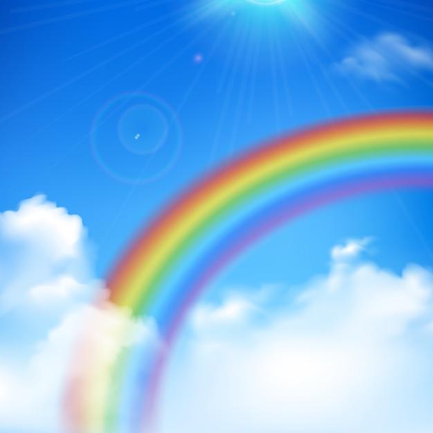 Arc-en-ciel et rayons de soleil fond réaliste avec nuages et ciel bleu Vecteur gratuit