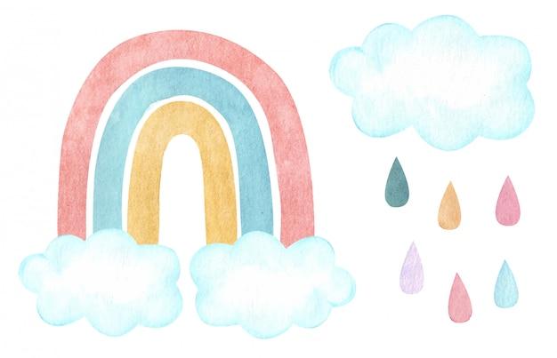 Arc En Ciel Vecteur Aquarelle Avec Nuages Et Pluie. Pépinière, Illustration De Douche De Bébé. Vecteur Premium