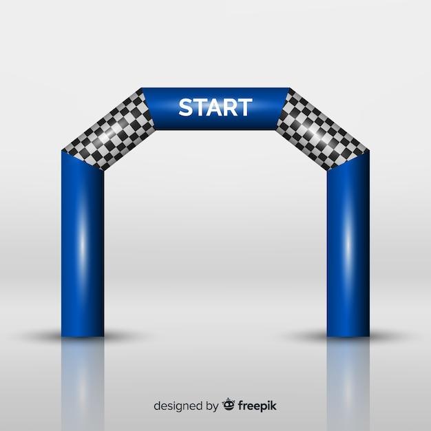 Arc de ligne de départ gonflable avec un design réaliste Vecteur gratuit