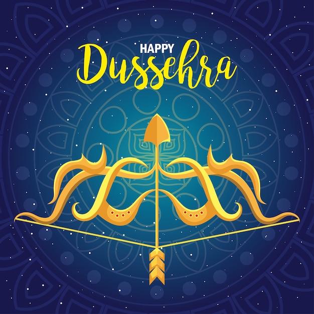 Arc D'or Avec Flèche Sur Bleu Avec Design De Fond De Mandala, Festival Happy Dussehra Et Thème Indien Vecteur Premium