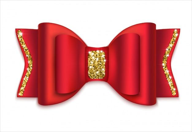 Arc rouge avec décor doré. décoration de vacances. isolé Vecteur Premium