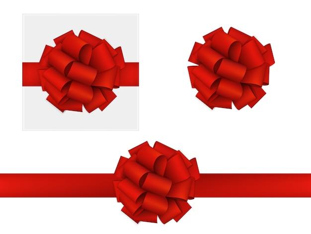 Arc rouge en ruban Vecteur Premium