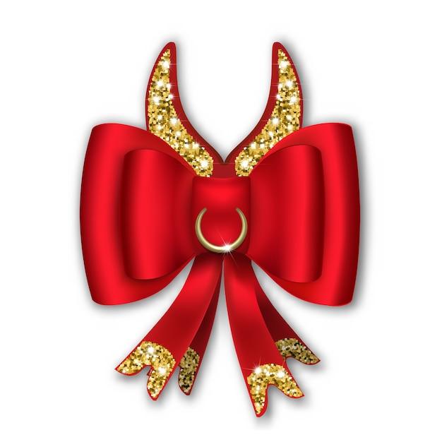 Arc Rouge Avec Rubans Et Cornes Comiques. L'année Du Taureau Est Selon Le Calendrier Chinois. Vecteur Premium