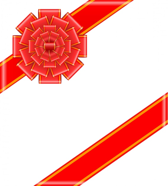 Arc rouge avec des rubans Vecteur Premium
