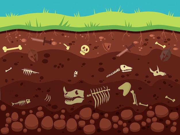 Archéologie, Artefacts Historiques Sous Illustration Au Sol Vecteur Premium