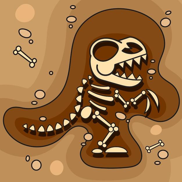 Archéologie. Squelette De Dinosaure En Terre. Fouilles D'os De Dinosaures. Outils Archéologiques. Vecteur Vecteur Premium