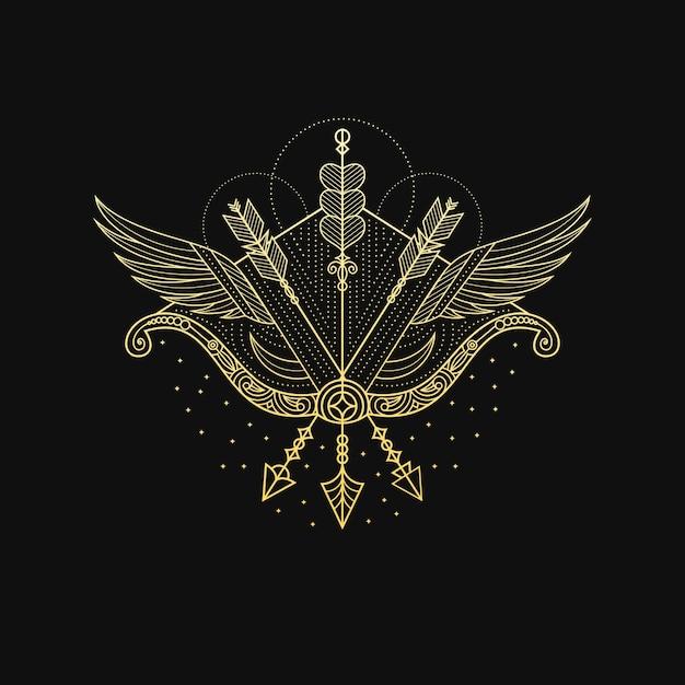 Archer d'or avec des ailes Vecteur Premium