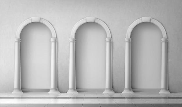 Arches Avec Colonnes Dans Le Mur, Portes Avec Piliers Vecteur gratuit