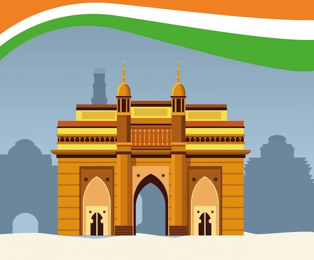 Architecture de construction de monument national indien Vecteur Premium