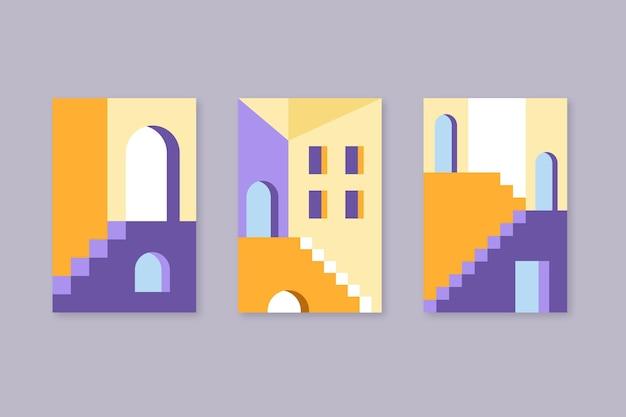 L'architecture Couvre Une Collection De Modèles Minimale Vecteur gratuit