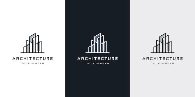 Architecture De Logo Avec Inspiration De Conception De Logo De Concept De Ligne Vecteur Premium