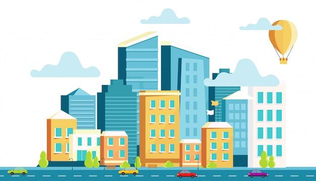 Architecture de paysage de la ville moderne. Vecteur Premium