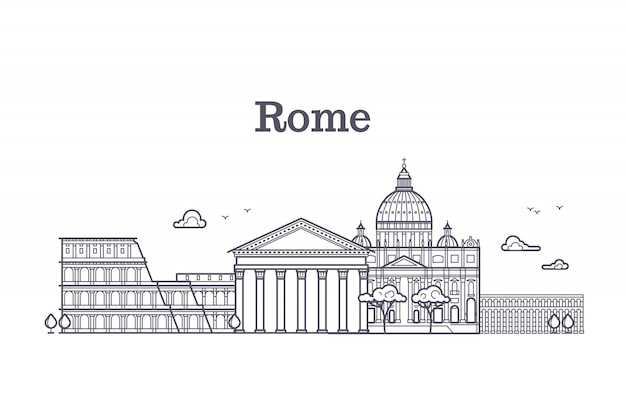 Architecture de rome italie, collection linéaire de l'europe skyline vector Vecteur Premium