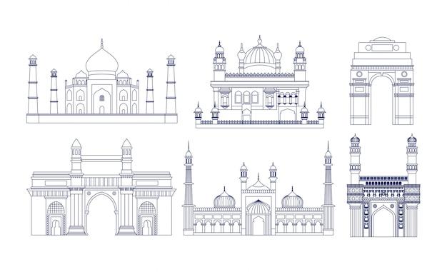 Architecture Des Temples établis En Inde Vecteur gratuit