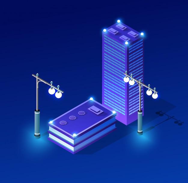 Architecture ultraviolette cityscape night Vecteur Premium