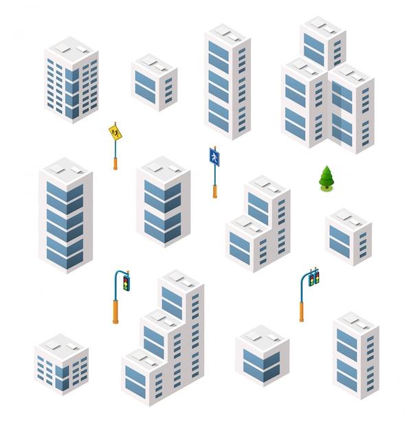 Architecture urbaine isométrique de vecteur Vecteur Premium