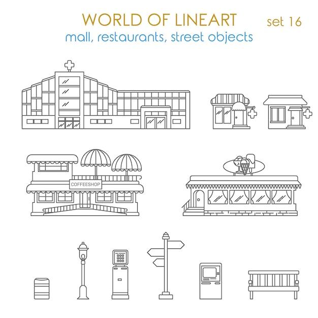 Architecture Ville Public Affaires Immobilier Bâtiment Entreprise Locale Al Ligne Art Style Ensemble Monde De La Collection Lineart Vecteur gratuit
