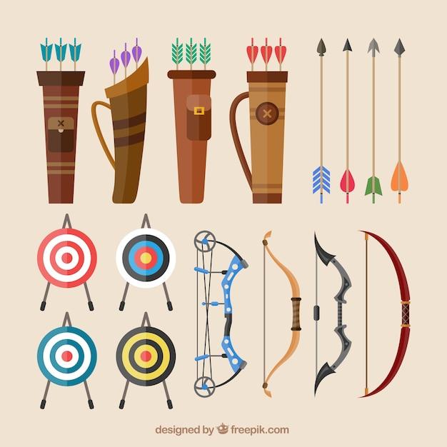 Les arcs et les flèches Vecteur gratuit