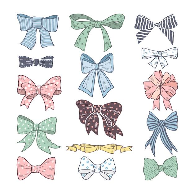 Arcs rétro. kit de beauté d'accessoires femme. rubans illustrations vectorielles isolées Vecteur Premium