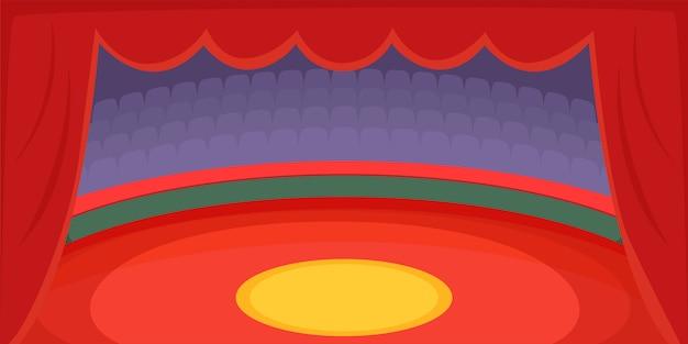 Arène de fond horizontale de cirque, style cartoon Vecteur Premium