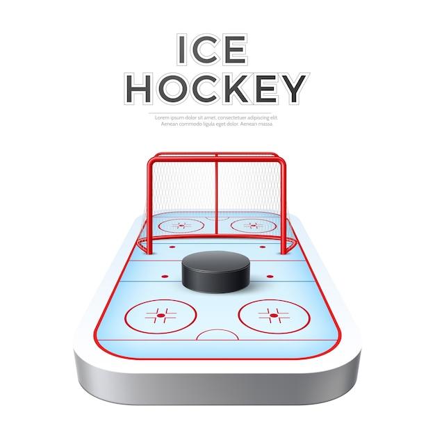 Arène De Terrain De Jeu De Hockey Sur Glace Réaliste De Vecteur Avec But Et Rondelle Vecteur Premium