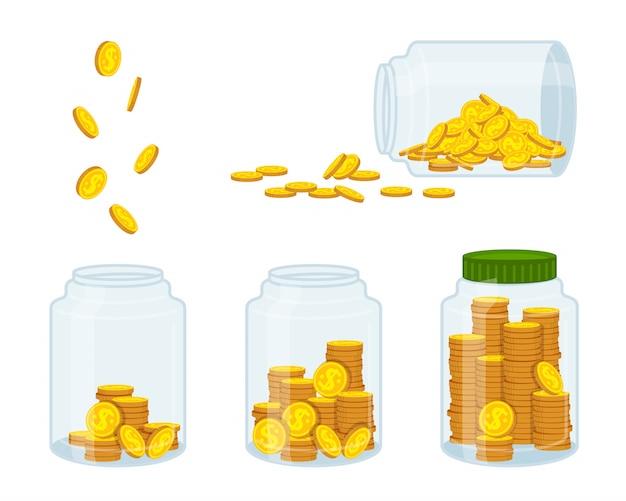 Argent En Banque, Pièce D'or. Signe De Devise De Dessin Animé Plat Volant, Conservation, économie. Concept Finance Et Banques, Investissements Vecteur Premium