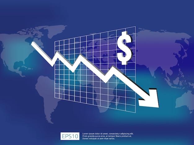 L'argent du dollar tombe avec l'arrière-plan flou Vecteur Premium